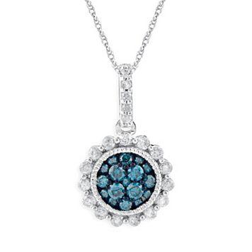 10k White Gold 1/2-ct. T.W. Blue & White Diamond Flower Pendant