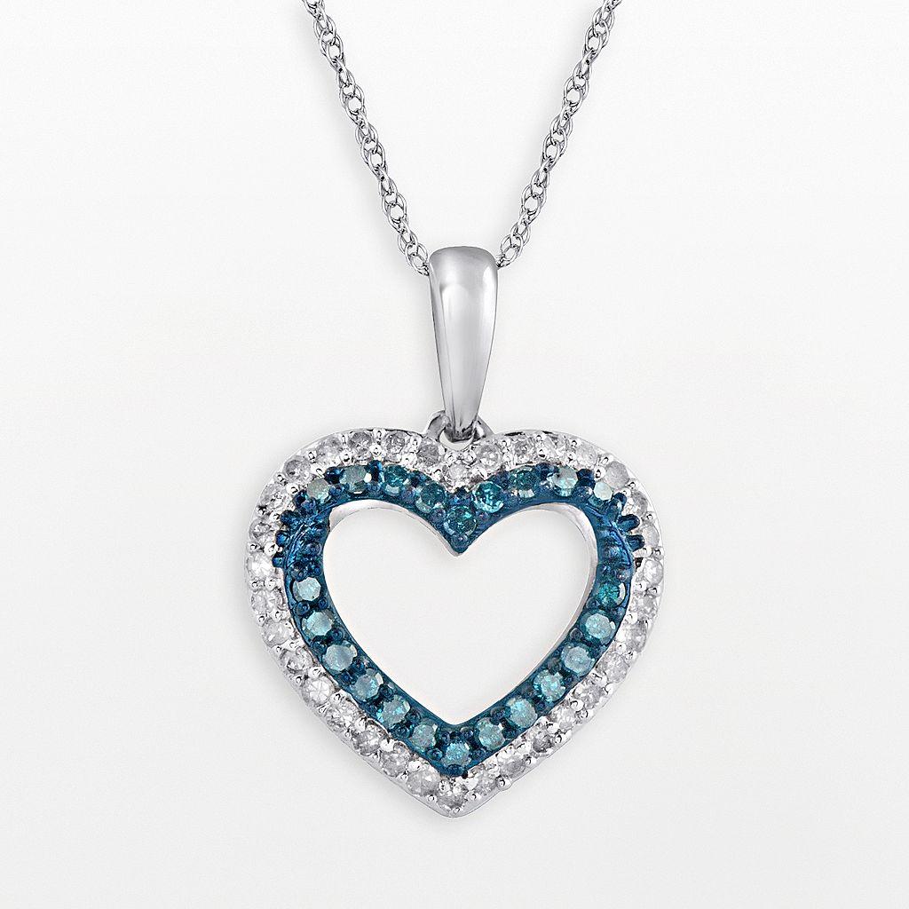 10k White Gold 1/3-ct. T.W. Blue & White Diamond Heart Pendant