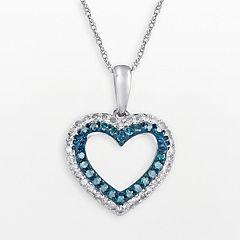 10k White Gold 1/3 ctT.W. Blue & White Diamond Heart Pendant