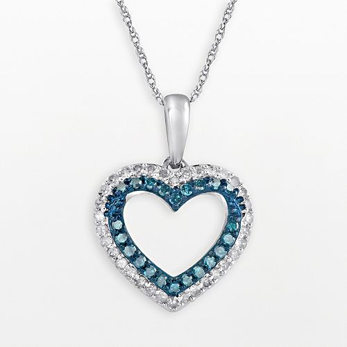 10k White Gold 1/3-ct. T.W. Blue & White Diamond Heart Pendant