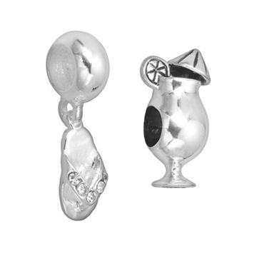 Individuality Beads Sterling Silver Daiquiri Bead & Crystal Flip-Flop Charm Set