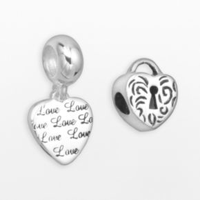 Individuality Beads Sterling Silver Heart Lock Bead and Love Heart Charm Set