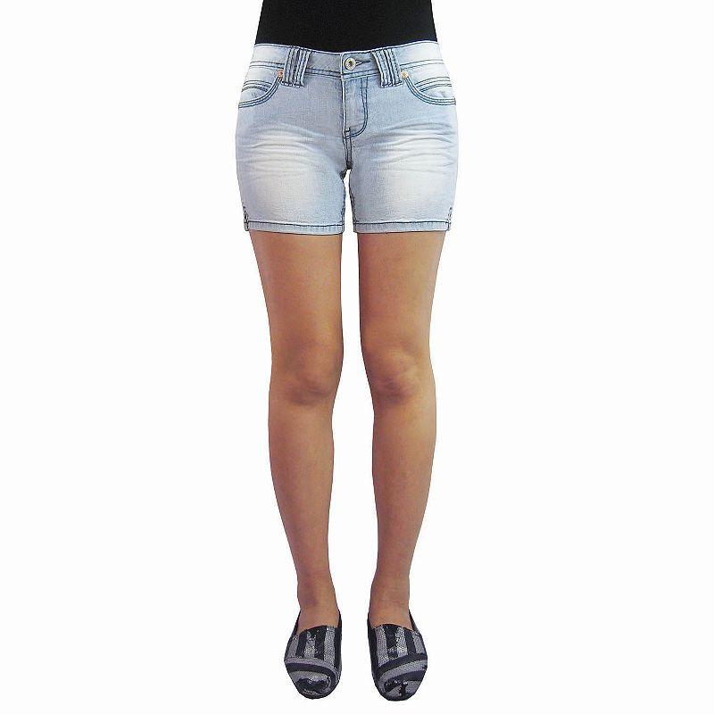 Angels Faded Midi Denim Shorts - Juniors Size 0 AVE/REG (Blue)