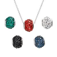 Silver-Plated Crystal Interchangeable Fireball Pendant Set