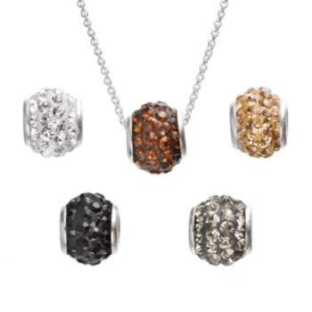 Silver-Plated Crystal Interchangeable Fireball Pendant Set