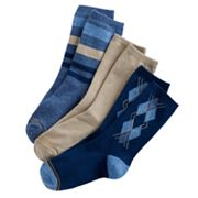 Boys GOLDTOE 3 pkSolid and Patterned Dress Socks