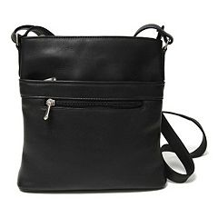 Royce Leather Vaquetta Triple-Zip Crossbody Bag