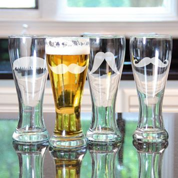 Cathy's Concepts Gentleman's Mustache 4-pc. Pilsner Glass Set