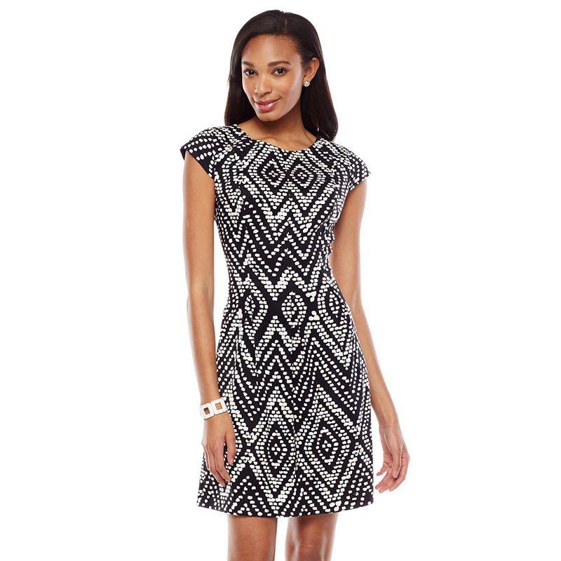 ab studio printed pleated twill sheath dress women 39 s