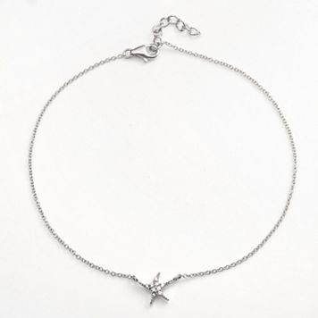 Sophie Miller Sterling Silver Cubic Zirconia Starfish Anklet