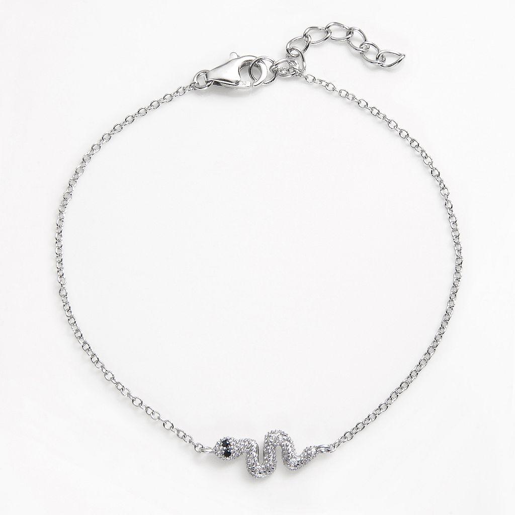 Sophie Miller Sterling Silver Black & White Cubic Zirconia Snake Anklet