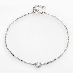 Sophie Miller Sterling Silver Cubic Zirconia Horseshoe Anklet