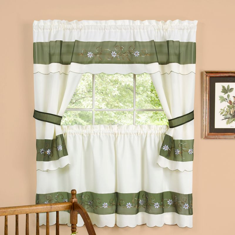 Berkshire 5pc. Swagger Tier Cottage Kitchen Curtain Set  3639;39;L Tiers