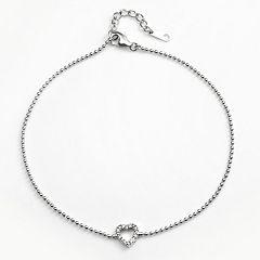 Sophie Miller Sterling Silver Cubic Zirconia Heart Anklet