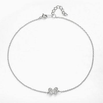 Sophie Miller Sterling Silver Cubic Zirconia Butterfly Anklet