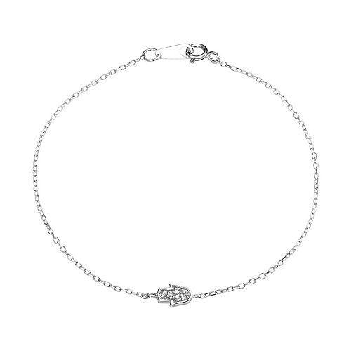 Sophie Miller Sterling Silver Cubic Zirconia Hamsa Bracelet