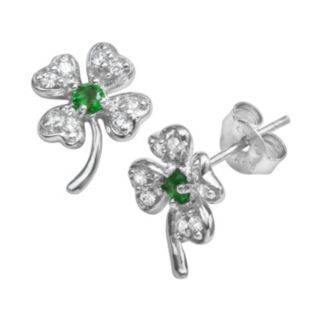 Sophie Miller Sterling Silver Green and White Cubic Zirconia Four-Leaf Clover Stud Earrings