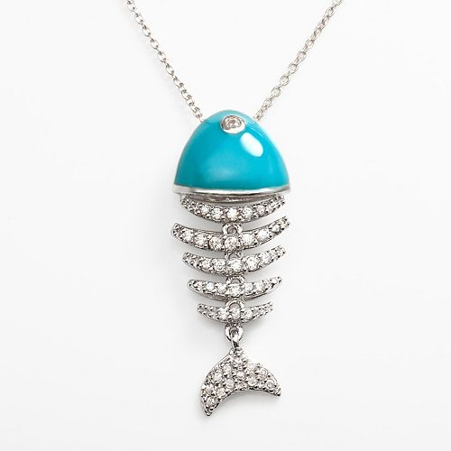 Sophie Miller Sterling Silver Cubic Zirconia Fish Pendant