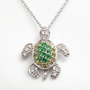 Sophie Miller Sterling Silver Simulated Emerald, Simulated Peridot & Cubic Zirconia Turtle Pendant