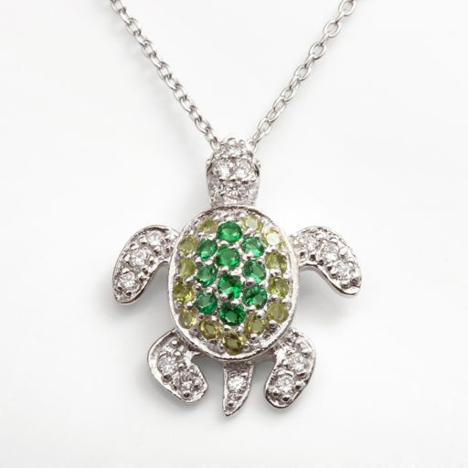 Sophie Miller Sterling Silver Simulated Emerald, Simulated Peridot and Cubic Zirconia Turtle Pendant