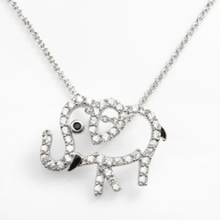 Sophie Miller Sterling Silver Black and White Cubic Zirconia Elephant Pendant