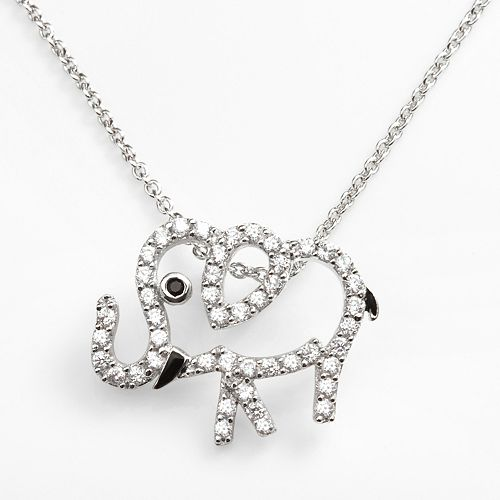 Sophie Miller Sterling Silver Black & White Cubic Zirconia Elephant Pendant