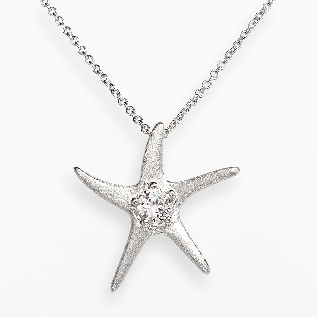 Sophie Miller Sterling Silver Cubic Zirconia Textured Starfish Pendant