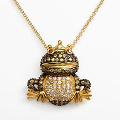 Sophie Miller 14k Gold Over Silver Red, Green & White Cubic Zirconia Frog Prince Pendant