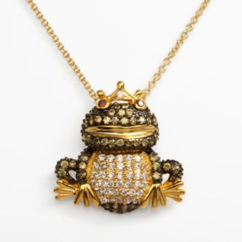 Sophie Miller 14k Gold Over Silver Red, Green and White Cubic Zirconia Frog Prince Pendant