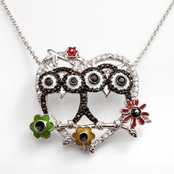 Sophie Miller Sterling Silver Black & White Cubic Zirconia Owl & Heart Pendant