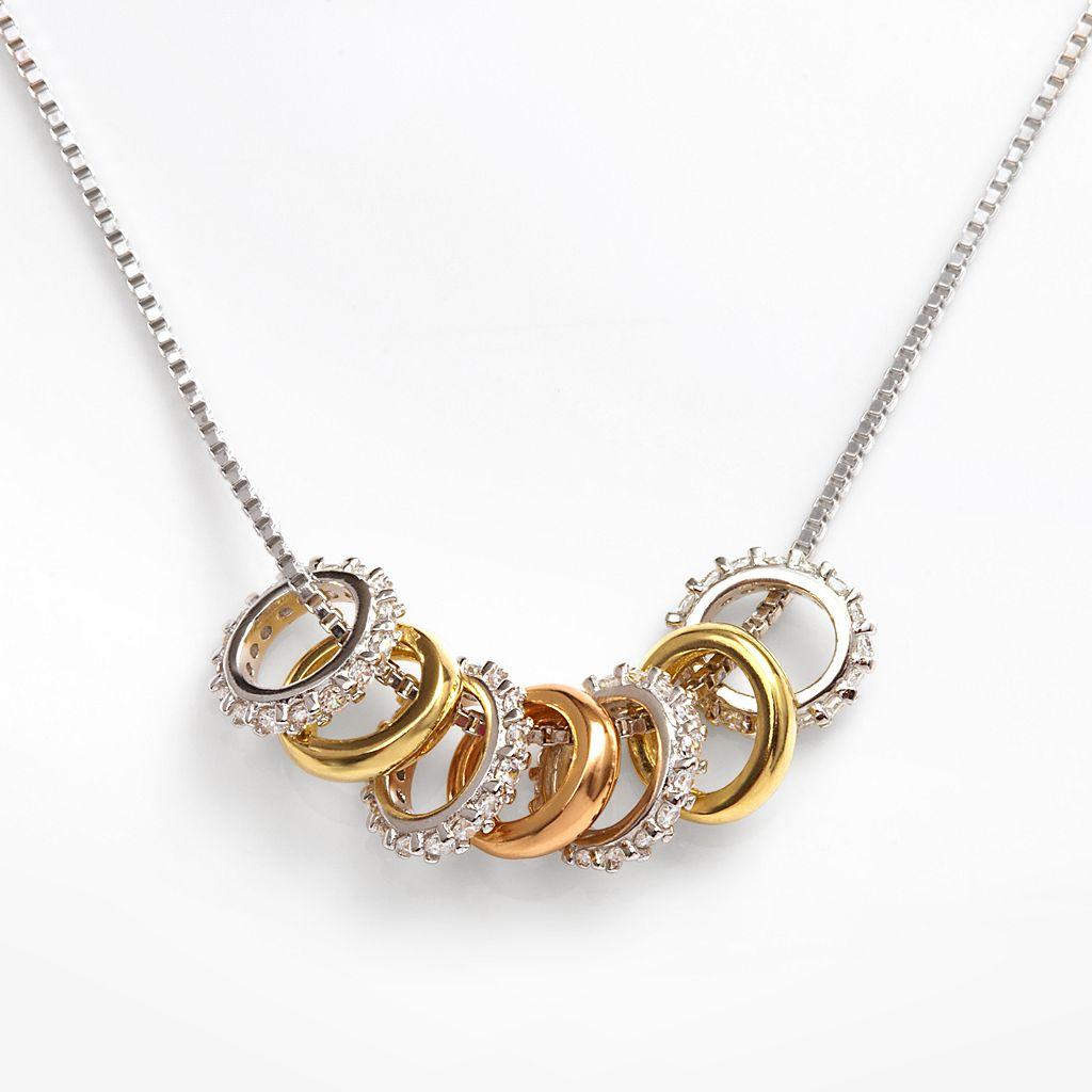 Sophie Miller 14k Gold Over Silver & Sterling Silver Tri-Tone Ring Necklace