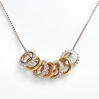 Sophie Miller 14k Gold Over Silver & Sterling Silver Tri-Tone Ring Necklace