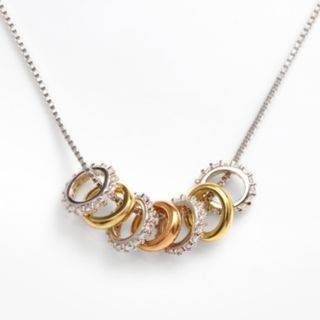 Sophie Miller 14k Gold Over Silver and Sterling Silver Tri-Tone Ring Necklace