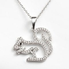 Sophie Miller Sterling Silver Black & White Cubic Zirconia Squirrel Pendant