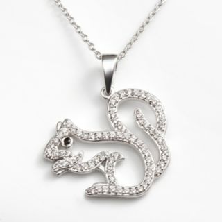 Sophie Miller Sterling Silver Black and White Cubic Zirconia Squirrel Pendant