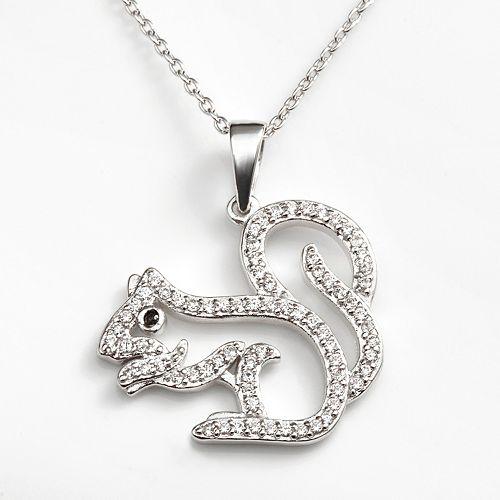 Sophie Miller Sterling Silver Black & White Cubic Zirconia Squirrel Pendant