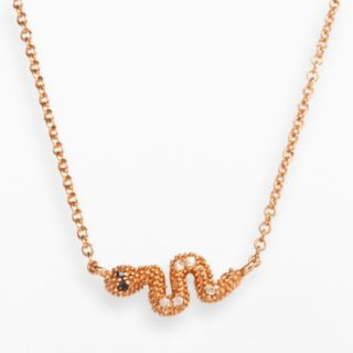 Sophie Miller 14k Rose Gold Over Silver Black and White Cubic Zirconia Snake Necklace