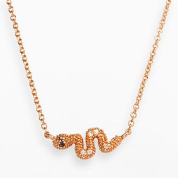 Sophie Miller 14k Rose Gold Over Silver Black & White Cubic Zirconia Snake Necklace