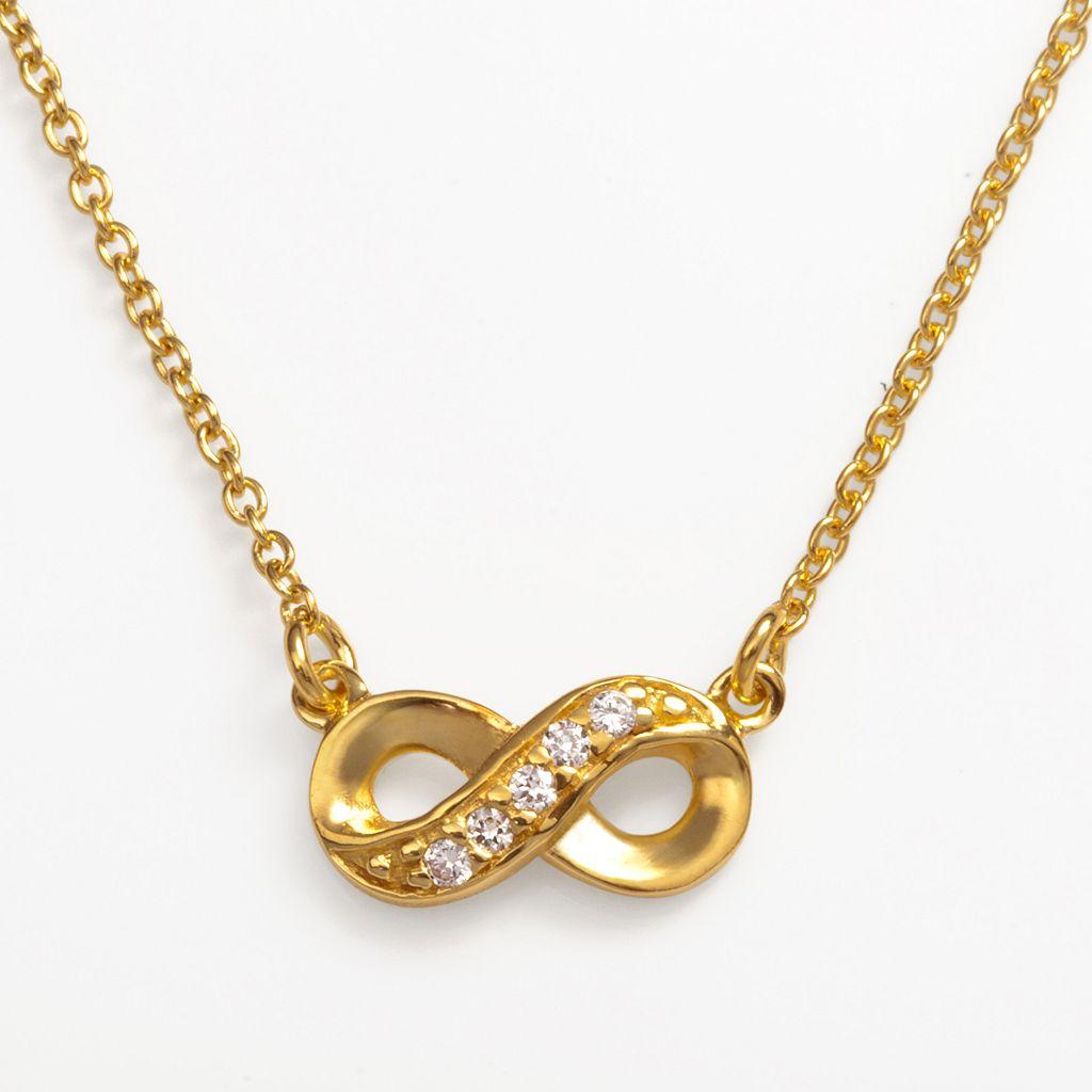 Sophie Miller 14k Gold Over Silver Cubic Zirconia Infinity Link Necklace