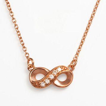 Sophie Miller 14k Rose Gold Over Silver Cubic Zirconia Infinity Link Necklace