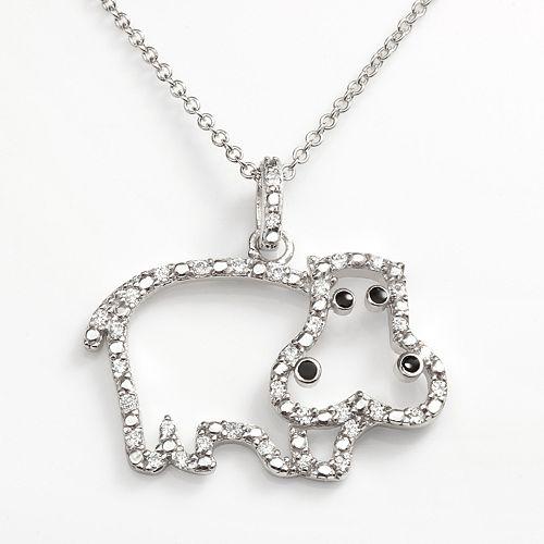 Sophie Miller Sterling Silver Cubic Zirconia Hippopotamus Pendant