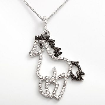 Sophie Miller Sterling Silver Black & White Cubic Zirconia Horse Pendant
