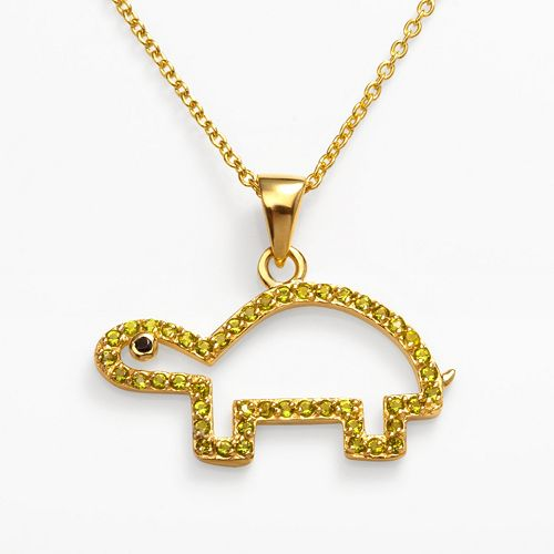 Sophie Miller 14k Gold Over Silver Simulated Peridot & Black Cubic Zirconia Turtle Pendant