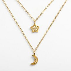 Sophie Miller 14k Gold Over Silver Cubic Zirconia Moon & Star Charm Multistrand Necklace