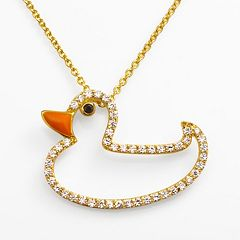 Sophie Miller 14k Gold Over Silver Black & White Cubic Zirconia Duck Pendant