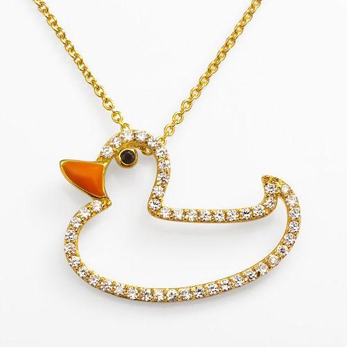 Sophie Miller 14k Gold Over Silver Black & White Cubic Zirconia Duck Pendant