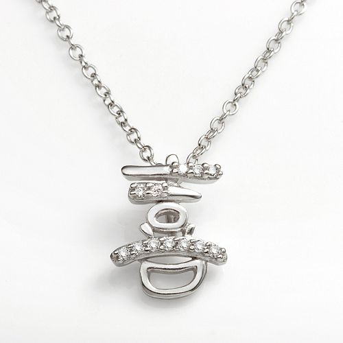"""Sophie Miller Sterling Silver Cubic Zirconia """"Happiness"""" Chinese Symbol Pendant"""