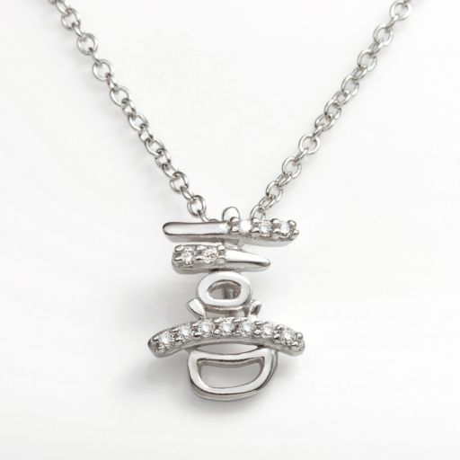 Sophie Miller Sterling Silver Cubic Zirconia Happiness Chinese Symbol Pendant