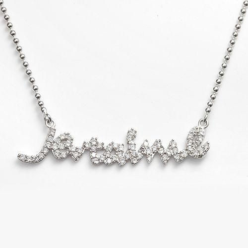 "Sophie Miller Sterling Silver Cubic Zirconia ""Je T'aime"" Necklace"