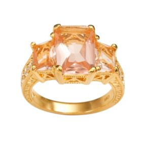 Sophie Miller 14k Gold Over Silver Simulated Morganite and Cubic Zirconia Ring